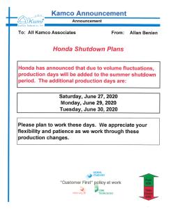 july work schedule